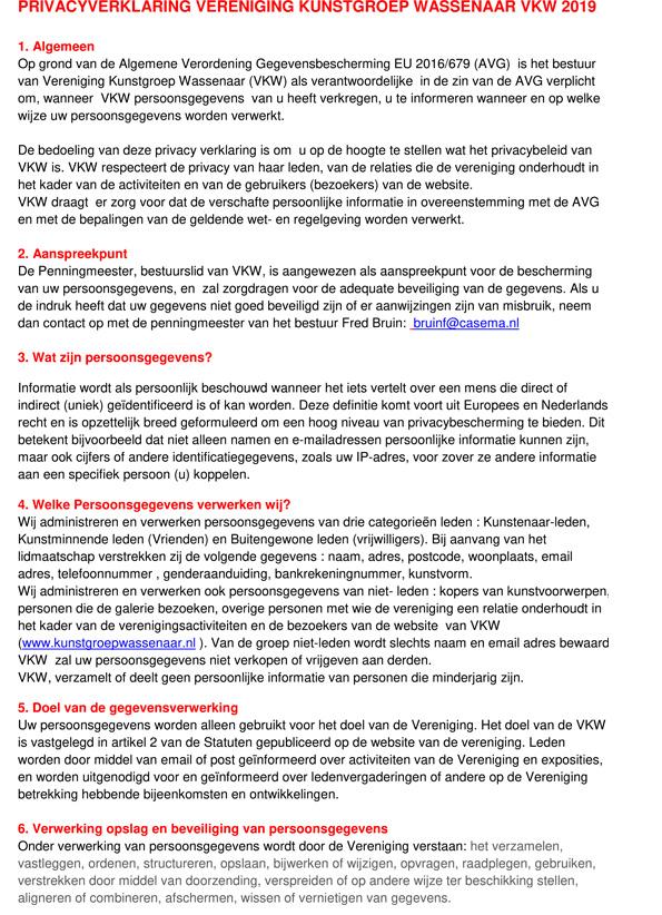 Privacyverklaring   Kunstgroep Wassenaar